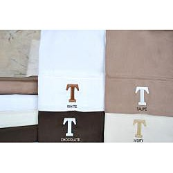Egyptian Cotton 300 Thread Count Solid Block 'T' Monogram Sheet Set - Thumbnail 1