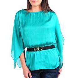 Stanzino Women's Aqua Satin Belted Top