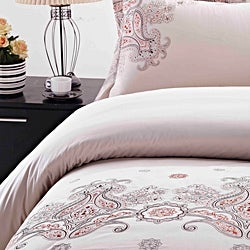 Paisley Embroidered Rustic King-size 3-piece Duvet Cover Set - Thumbnail 1