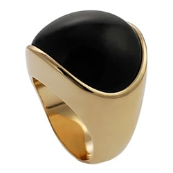 Goldtone Created Black Onyx Dome Ring - Thumbnail 1