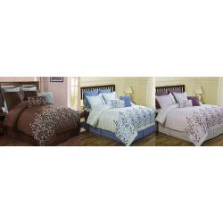 Embroidered Leaves 13-piece Comforter Ensemble with Matching Window Set - Thumbnail 1