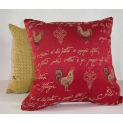 French Rooster Red Decorative Pillow - Thumbnail 1