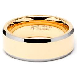 Men's Tungsten Goldplated and Carbide Bevel Edge Band