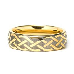 Men's Tungsten Carbide Gold Laser-etched Weave Ring (7 mm) - Thumbnail 1