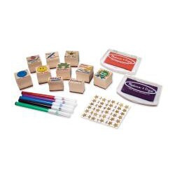 Melissa & Doug Classroom Stamp Set with Pencils, Stickers, Stamp Pad - Thumbnail 1