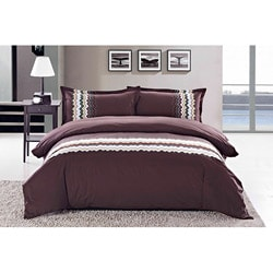 Zig-zag Embroidered King-size 3-piece Duvet Cover Set
