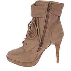 Elegant Women's Nude Peggy-1 High Heel Combat Ankle Boots - Thumbnail 1