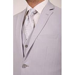 Ferrecci's Men's Grey Two-button Slim Fit Three-piece Suit