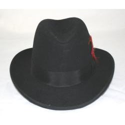Ferrecci Men's Black Wool Godfather Hat - Thumbnail 1