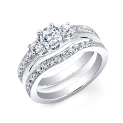 14k White Gold 1ct TDW Diamond Bridal Ring Set (H-I, I2-I3) - Thumbnail 1