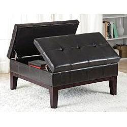Dark Brown Leather Ottoman Storage Bench - Thumbnail 1