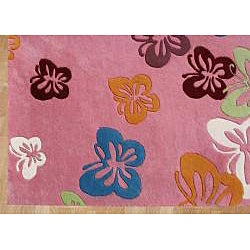 Alliyah Handmade Pink New Zealand Blend Wool Rug  (5' x 8') - Thumbnail 1