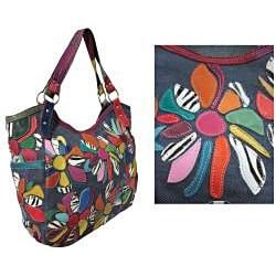 Amerileather Amelia Patchwork Leather Shoulder-strap Tote Bag