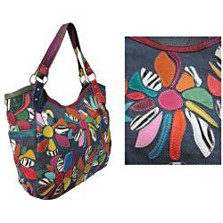 Amerileather Amelia Patchwork Leather Shoulder-strap Tote Bag - Thumbnail 1