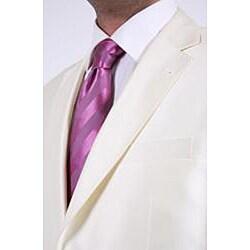Ferrecci Men's Shiny Off-white Two-button Two-piece Slim Fit Suit
