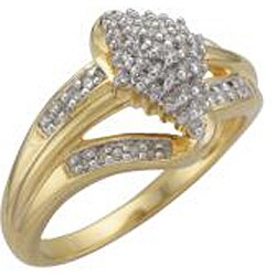 Unending Love Sterling Silver and 14k Gold Vermeil 1/4ct TDW Diamond Ring (K-L, I1-I2) - Thumbnail 1