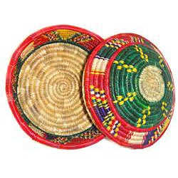 Multi-colored Circular Lid Basket (Ethiopia) - Thumbnail 1