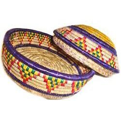 Multi-Colored Circular Lid Basket (Ethiopia) - Thumbnail 1