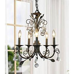 Sapri 5-light Brushed Oak Chandelier with Crystal - Thumbnail 1