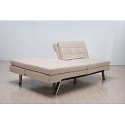 'Memphis' Cream Double-Cushion Futon Sofa/ Bed - Thumbnail 1