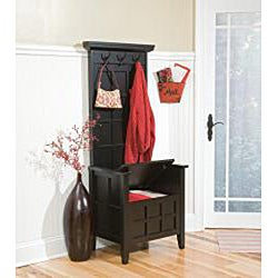 Mini Black Hall Tree And Storage Bench Free Shipping