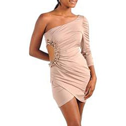 Stanzino Women's Plus Size Nude Open Side Formal Dress