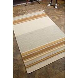 Flat Woven Brown Wool Rug (10' x 14') - Thumbnail 1