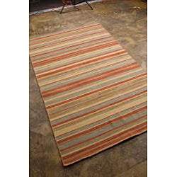 Flat Woven Red Wool Rug (10' x 14') - Thumbnail 1