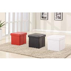 White Folding Cube Storage Ottoman - Thumbnail 1