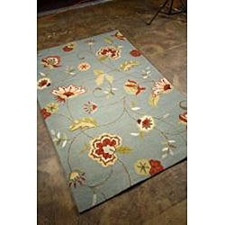 Hand-Hooked Blue/ Red Floral Area Rug (7'6 x 9'6) - Thumbnail 1