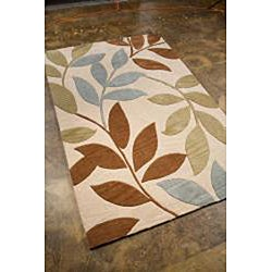 Hand-Tufted Ivory Leaf Area Rug (7'6 x 9'6) - Thumbnail 1