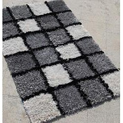 Hand-woven Grey/ White Shag Rug (2' x 3') - Thumbnail 1
