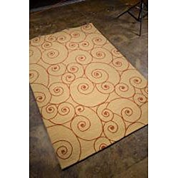 Hand-hooked Sand Area Rug (5'x 7'6) - Thumbnail 1