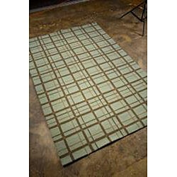 Hand-hooked Blue Area Rug (7'6 x 9'6)