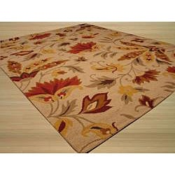EORC Hand-tufted Wool Beige Sunset Garden Rug (8' x 10') - Thumbnail 1