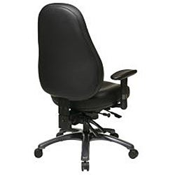 Office Star Black Eco Leather Multi-function Mid-back Chair