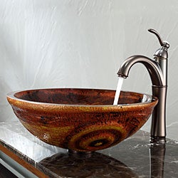 Kraus Tiger Eye Glass Vessel Sink and Riviera Faucet Oil Rubbed Bronze