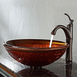 Kraus Copper Glass Vessel Sink and Riviera Faucet Oil Rubbed Bronze