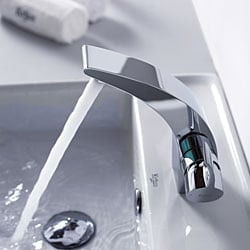 Kraus Illusio Single Lever Basin Faucet and Pop Up Drain with Overflow Chrome - Thumbnail 1