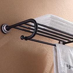 Kraus Apollo Bathroom Accessories - Bath Towel Rack with Towel Bar Oil Rubbed Bronze - Thumbnail 1