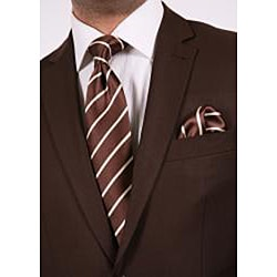 Ferrecci's Men's Brown Slim-Fit Suit with Tie - Thumbnail 1