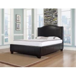 Venice-X Cal King-size Four-Drawer Chocolate Leather Storage Bed - Thumbnail 1