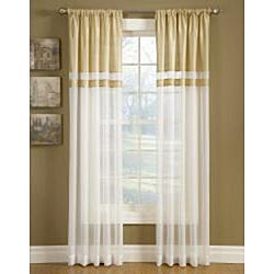 Top-down Reversible Silk Banded Sheer Panel Curtains