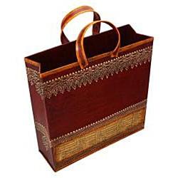 Wrought Iron Embossed 'Shopping Bag' Magazine Holder (India) - Thumbnail 1