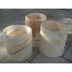 Set of 3 Alabaster Planting Pots Planter (Egypt) - Thumbnail 1