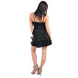 Stanzino Women's Black Ruffle Belted Dress - Thumbnail 1