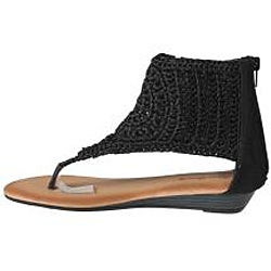 Refresh by Beston Women's 'Tokyo-12' Black Knit T-strap Sandal - Thumbnail 1