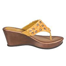 Refresh by Beston Women's 'Summer-03' Yellow Wedge Sandal