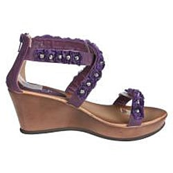 Refresh by Beston Women's 'Summer-02' Purple Wedge Sandal