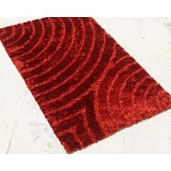 Hand-woven Red Shag Rug (8' x 10') - Thumbnail 1